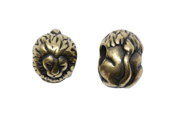 Lion Euro Bead - Brass Plated