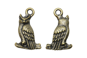 Owl Charm - Brass Plated