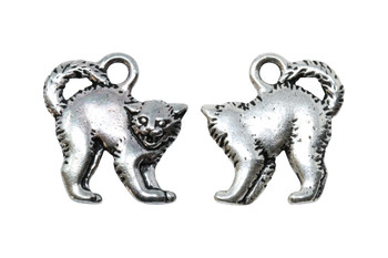 Scary Cat Charm - Silver Plated