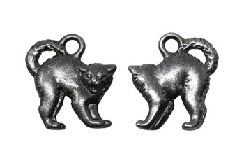 Scary Cat Charm - Black Plated