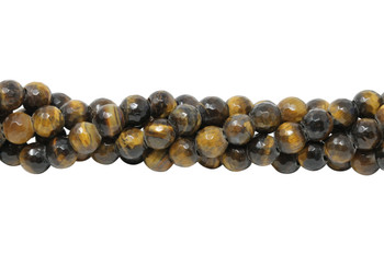 Tiger Eye Polished 8mm Faceted Round - Large Hole