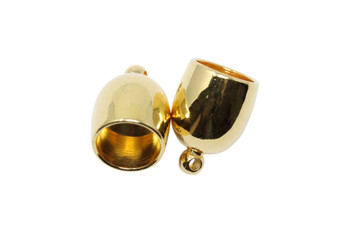 Gold Plated 8mm Bullet End Caps - 1 Pair