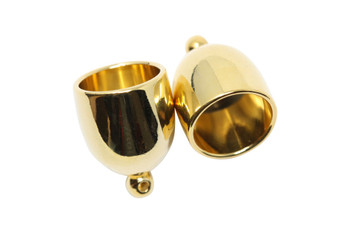 Gold Plated 10mm Bullet End Caps - 1 Pair