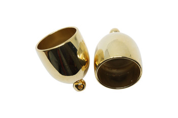 Gold Plated 12mm Bullet End Caps - 1 Pair