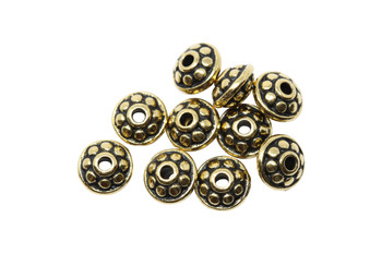 7mm Dotted Spacers Gold Plated - 10 Pieces