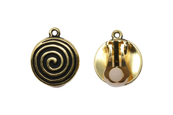 Spiral Clip On Earrings - Gold Plated - 1 Pair