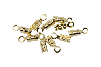 Gold Plated 1mm Crimp Ends - 10 Pieces