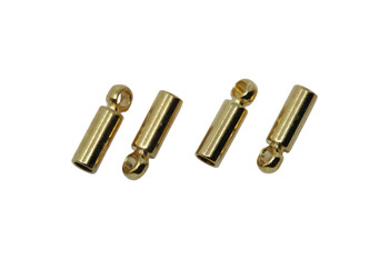 Gold Plated 1mm Glue In End Cap - 2 Pairs