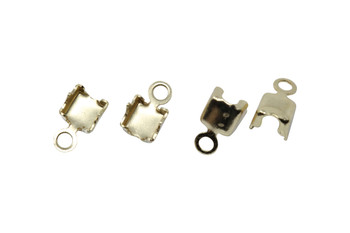 Gold Plated Rhinestone End Connector 3mm - 4 Pieces