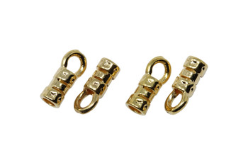 Gold Plated 2mm Leather Crimp End - 2 pairs