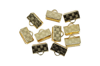 Gold Plated 10mm Flat Crimp Ends - 10 Pieces