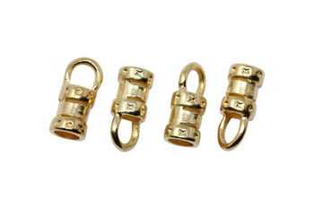 Gold Plated 3mm Leather Crimp End - 2 pairs