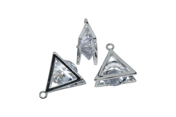 Silver 13mm CZ Triangle Micro Pave Charm