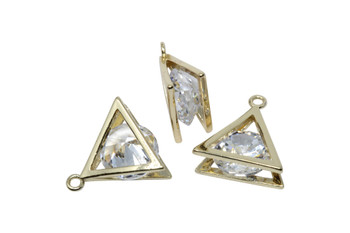 Gold 13mm CZ Triangle Micro Pave Charm