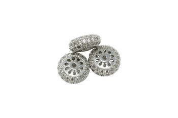 Silver 11x5mm Micro Pave Rondel Bead