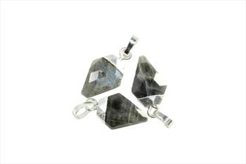 Labradorite 10x20mm Faceted Silver Triangular Charm