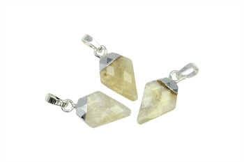 Citrine 10x20mm Faceted Silver Triangular Charm