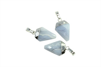 Blue Lace Agate 10x20mm Faceted Silver Triangular Charm