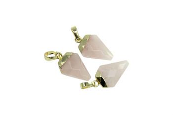 Rose Quartz 10x20mm Faceted Gold Triangular Charm