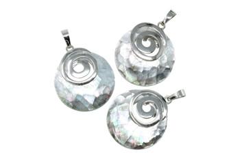 Abalone Silver Spiral Pendant