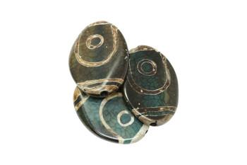 Tibetan Style Agate Polished 40x30mm Oval