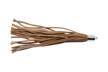 Natural Brown Leather 8x100mm Tassel with Silver Cap