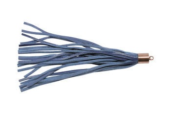 Blue Leather 8x100mm Tassel with Copper Cap