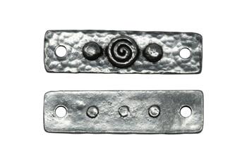 Spiral and Rivets Link - Antique Pewter