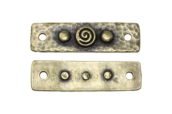 Spiral and Rivets Link - Brass Plated