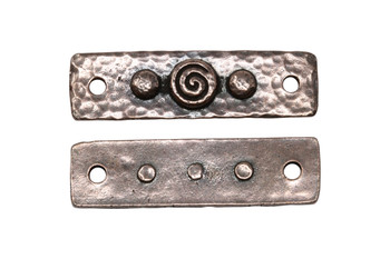 Spiral and Rivets Link - Copper Plated