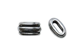 Deco 6x2mm Barrel Bead - Silver Plated