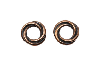 Twisted 12mm Spacer Bead - Copper Plated