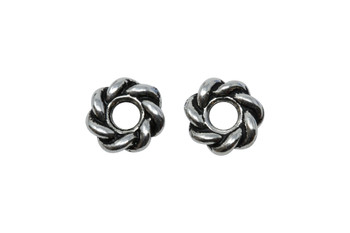 Twist 8mm Large Hole Bead - Silver Plated