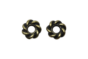 Twist 8mm Large Hole Bead - Brass Plated
