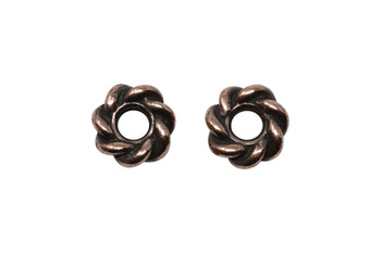 Twist 8mm Large Hole Bead - Copper Plated