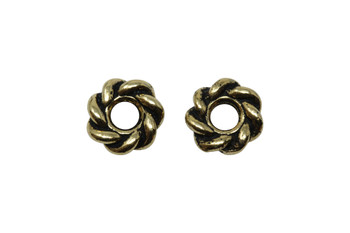 Twist 8mm Large Hole Bead - Gold Plated