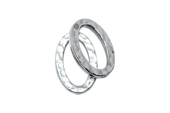 Small Hammertone Oval Ring - Rhodium Plated
