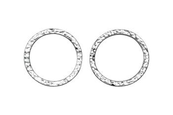 Hammertone 1-inch Ring - Rhodium Plated