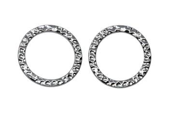 Large Hammertone Ring - Rhodium Plated