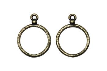 Stitch-around 18mm Hoop Charm - Brass Plated