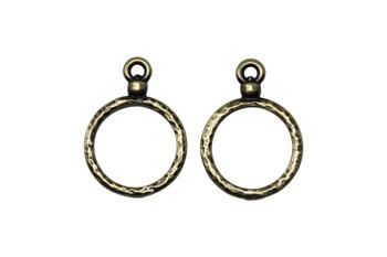 Stitch-around 15mm Hoop Charm - Brass Plated