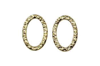 Hammertone Oval Ring - Gold Plated