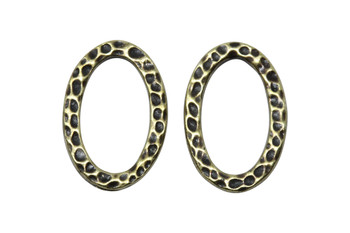 Hammertone Oval Ring - Brass Plated