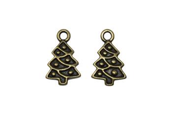 Christmas Tree Charm - Brass Plated