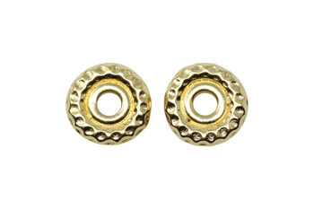 Hammertone 10mm Large Hole Bead - Gold Plated