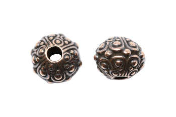 Oasis 10mm Large Hole Bead - Copper Plated