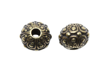 Oasis 10mm Large Hole Bead - Brass Plated