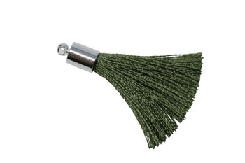 Olive 27-30mm Tassel with Silver Cap