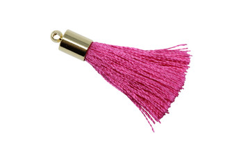 Hot Pink 27-30mm Tassel with Gold Cap