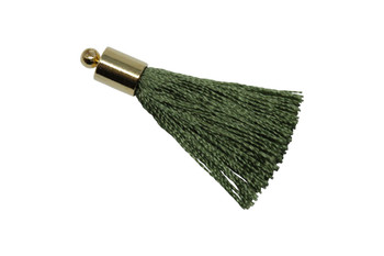 Olive 27-30mm Tassel with Gold Cap